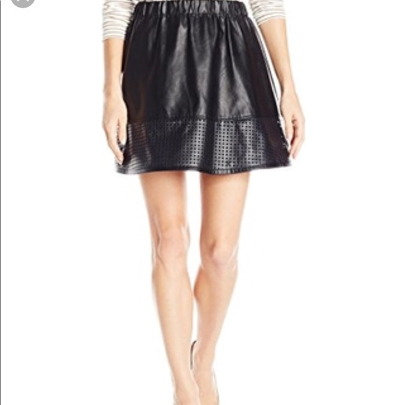 ae974eb3193 Armani Exchange Faux Leather Perforated Skirt 10